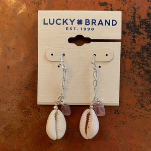 NWT Lucky Brand Shell Drop Silver Earrings
